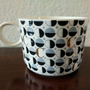 EUC ANTHROPOLOGIE OPTIMIST MONOGRAM LATTE MUG CUP